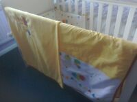 Mothercare cot with mattress and bedding. Immaculate condition. Buyer collects