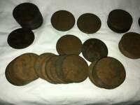 vintage Elizabeth British penny coins