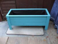 LARGE NEW WOODEN PLANTER IN [BEACH BLUE ] LENGHT 105 CM X WIDTH 41 CM X HEIGHT