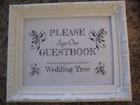 WEDDING RECEPTION DISPLAY ITEM - DECORATED STAND UP FRAME 'PLEASE SIGN MY GUEST BOOK'