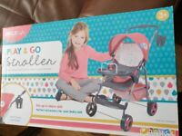 Play&go doll stroller with hood, basket and cup holder