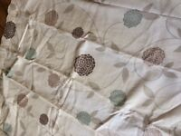 Curtain cream with duck egg blue pattern