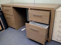 Oak Finish Twin Pedestal Home Office Desk from Next. Ideal for Home Working.