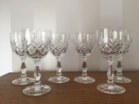 6 Edinburgh Crystal Glasses (Small wine - Port - Sherry) Size : 13cms Tall by 6.25cms Wide