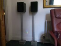 Speaker stands and speakers
