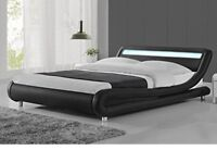 Brand New Double Black Leather LED Bed