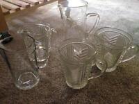 Assorted glass jugs