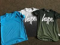 Boys north face and hype tshirts 9-10