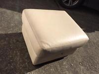 Footstool cream/white leather