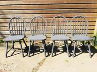 Set of 4 Farmhouse Cottage Kitchen Dining Chairs French Grey Chalk