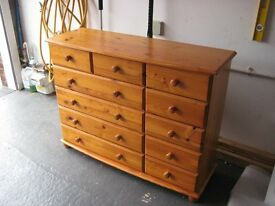 SET OF PINE DRAWERS 4 LARGE AND 7 SMALL 120cm x 40cm x 92cm fair condition