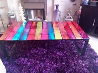 Coloured Glass Coffee Table with Black Legs Excellent New Condition £40