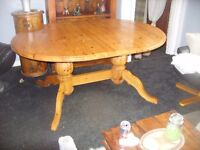 Extending double Pedestal Pine Dining Table