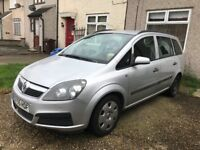 Vauxhall Zafira, long MOT, for parts and spare, start not drive may be turbo problem, sold as seen