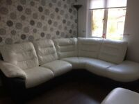 White leather dfs corner sofa with storage foot stool