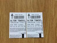 Alton Towers tickets x2