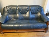leather two and three seater sofa