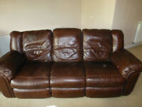 Brown Leather Reclining Furniture consisting of: a 3 seater sofa, a 2 seater sofa and an armchair
