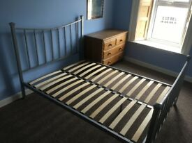 METAL DOUBLE BED FRAME AND MATRESS