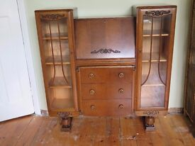 Lovely Antique Oak Bureau with 2 Display Bookcases