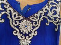 Blue anarkali dress with diamond work