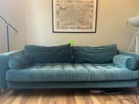 Made Scott 3 seater Sofa in Petrol Blue Velvet