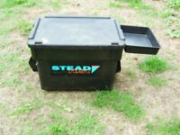 Large Stead Fast 2000 Fishing Seat Box with Side Tray VGC