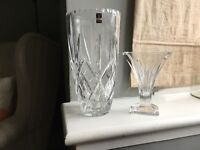 Crystal gleneagle and Waterford vases