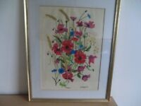 """LOVELY, COLOURFUL FRAMED WATERCOLOUR TITLED """"POPPIES"""""""
