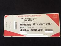 COLDPLAY TICKETS PITCH STANDING X2 12/7/17