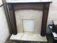 Fire surround, marble plate, matching hearth
