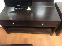 Walnut wood 2 drawer coffee table/media unit £40