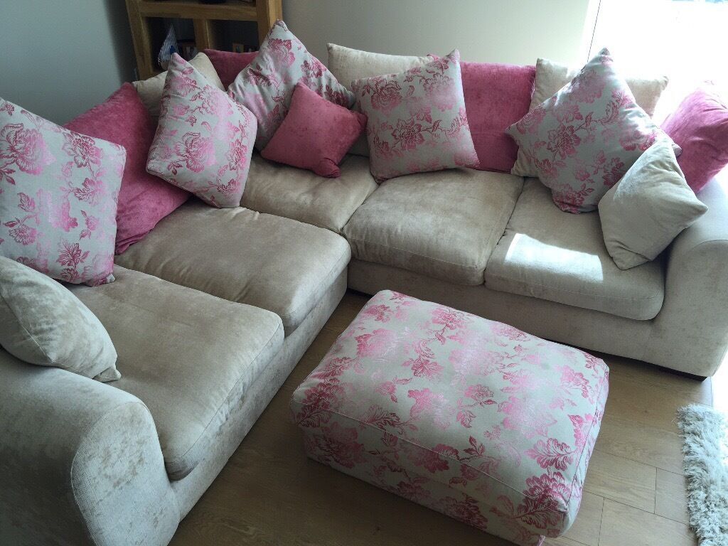 Corner Sofa Matching Chair Footstool Suite In