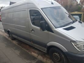 MERCEDES SPRINTER 313LWB. NO VAT. SILVER.HIGH ROOF. SERVICE HISTORY.CRUISE CONTROL.