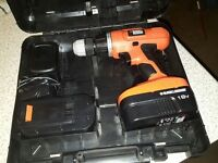 Black and Decker EPC188BK 18v hammer drill With Kitbox and 2 Batteries.