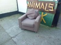 Brown Fabric Modern Armchair Chrome Legs Delivery Available