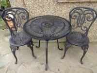 CAST ALUMINIUM GARDEN / PATIO SET -- TABLE AND 2 CHAIRS --