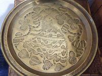 Vintage Metal Tray with Decoration, Folk Artsy