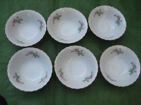 Set of Six Bone China Cereal/Dessert Bowls for £4.00