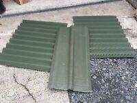 Green corrugated sheets x2. Plus ridging.