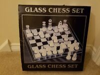 Great frosted and clear glass 32 piece chess set