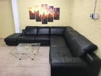 HUGE Family Black Leather Corner Sofa