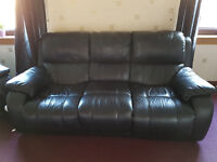 Black leather 3 seater with electric recliners and 2 seater suite