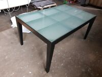 Contemporary Frosted Glass Top & Dark Wood Rectangular Dining Table