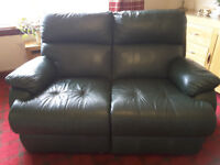 GREEN LEATHER RECLINER SETTEE