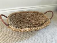 Shallow wicker basket