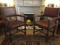 Pair ox blood carver chairs
