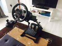 Logitech G920 wheel, pedals, manual shifter, and stand