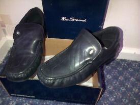 Boys / mens black leather Ben Sherman shoes size 5 - £10