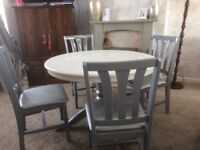 White grey silver solid wood farmhouse table with 4 chairs
